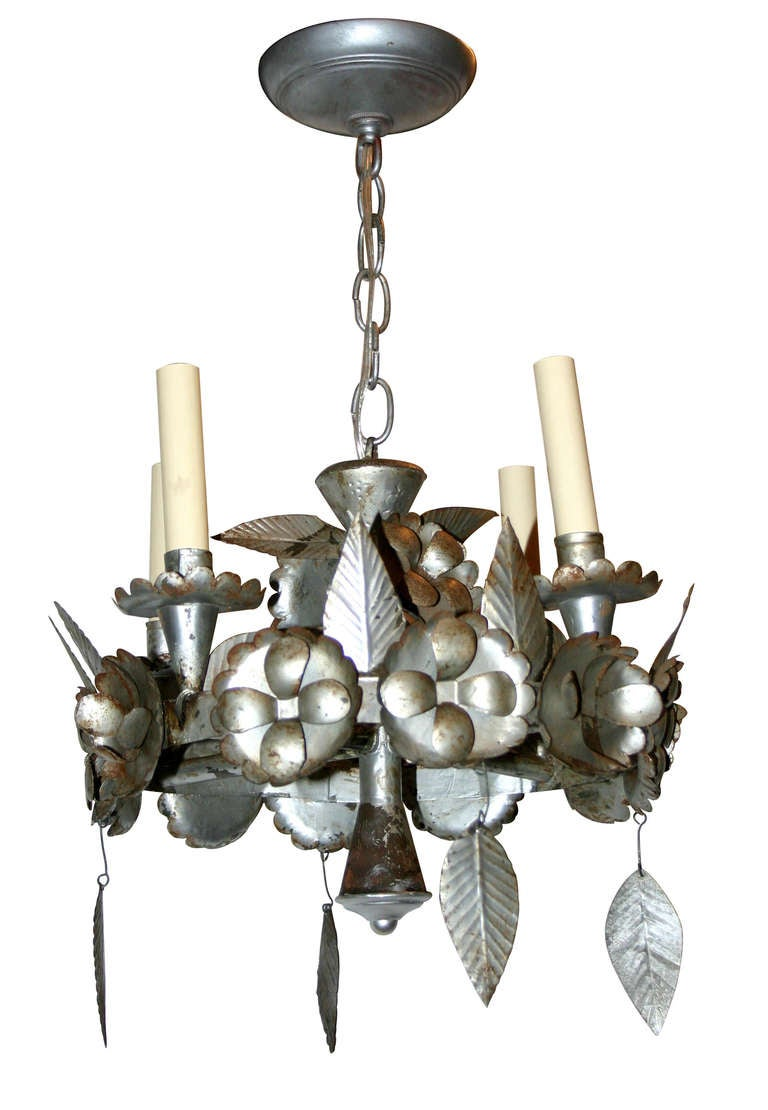 Pair of silver tin chandeliers for sale at 1stdibs pair of circa 1940s tin silver chandeliers with floral and foliage motif original finish and aloadofball Choice Image