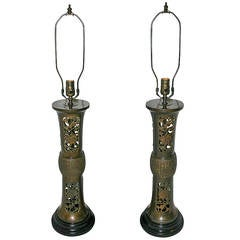 Pair of Pierced Orientalist Lamps