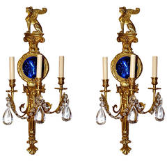 Large Empire Style Sconces with Cobalt Blue Mirror
