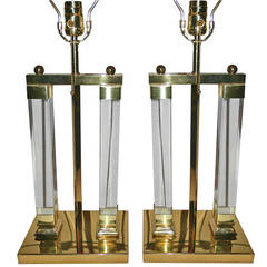Pair of Gilt Lucite Lamps