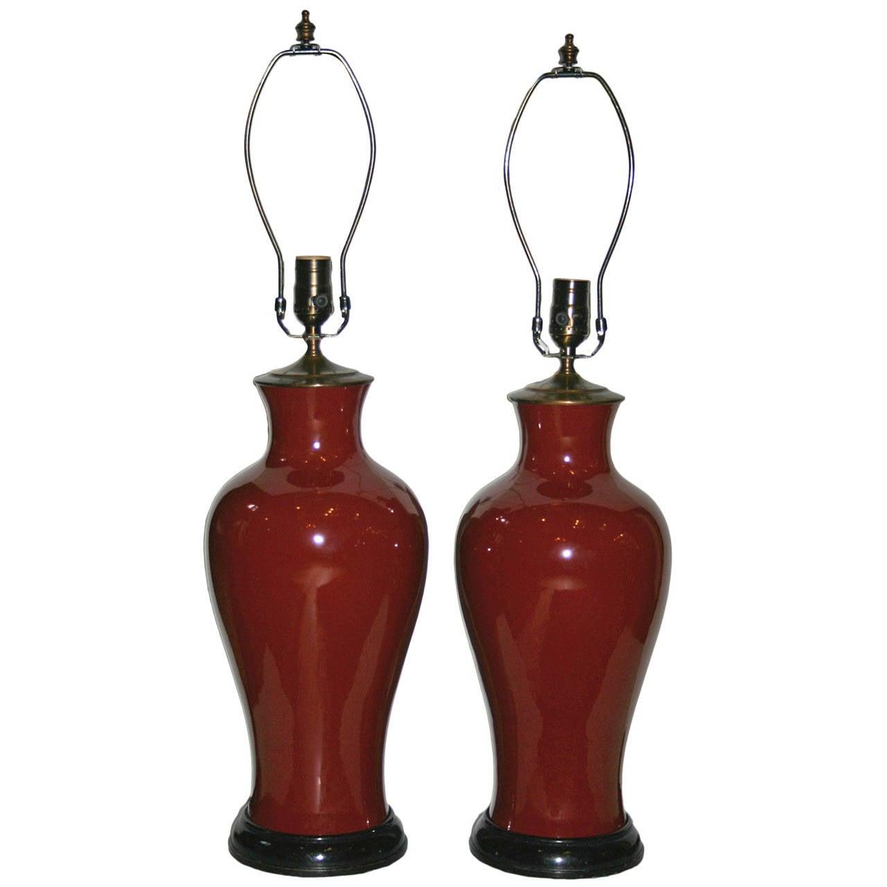 Pair of Sang De Boeuf Porcelain Lamps