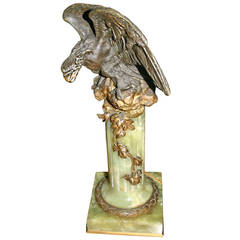 Eagle Statue on an Onyx Pedestal Base