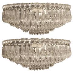 Pair of Moderne Crystal Sconces