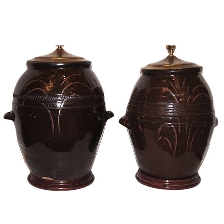 Pair of Large Ceramic Jug Lamps For Sale