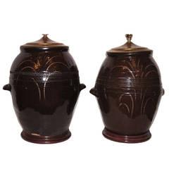 Pair of Large Ceramic Jug Lamps