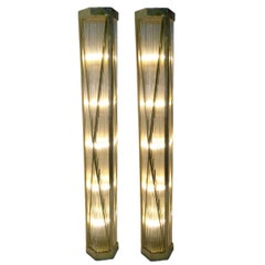 Italian Bronze and Glass Rod Floor Lamps