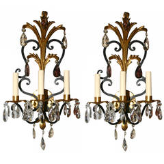 Gilt Metal Sconces with Amethyst Crystal Drops
