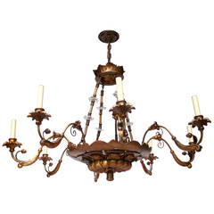 Large Neoclassic Giltwood Chandelier