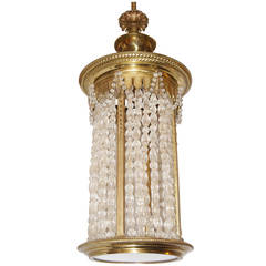Gilt Neoclassic Lantern with Crystals