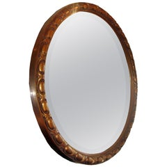 Round Neoclassic Giltwood Mirror