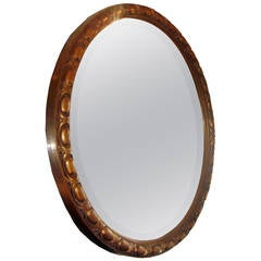Round Neoclassic Giltwood Mirror