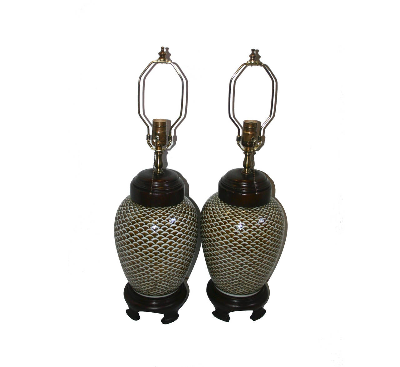 Pair of 1960s porcelain table lamps with detailed painted decoration.  Measures: 15