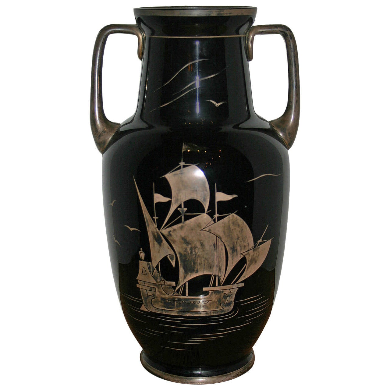 Black Glass Vase with Silver Decoration