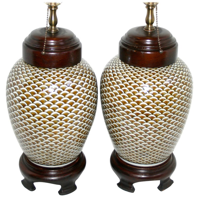 Pair of Porcelain Lamps For Sale