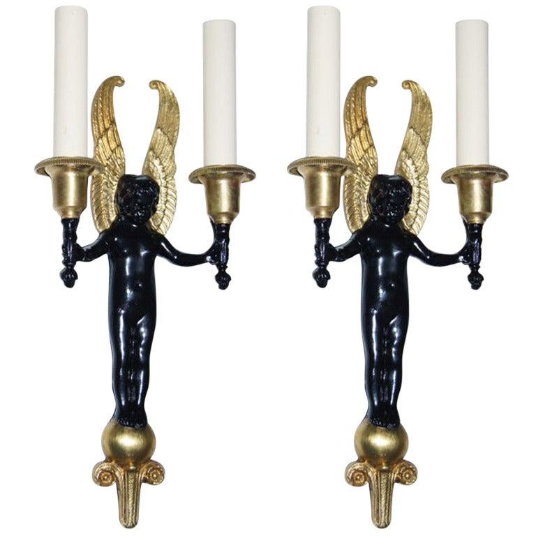 Brass Cherub Wall Sconces : Cast Bronze Cherub Sconces For Sale at 1stdibs
