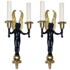 Cast Bronze Cherub Sconces