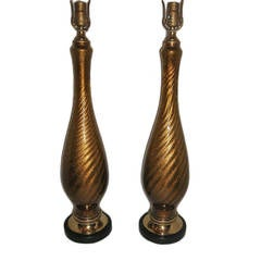 Pair of Gold Murano Lamps
