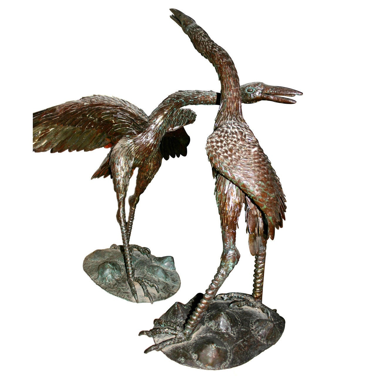 Pair of Large Iron Cranes Sculptures