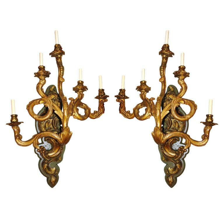 Large Venetian Giltwood Sconces at 1stdibs