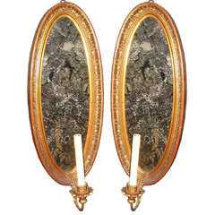 Neoclassic Oval Mirrored Sconces