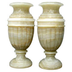 Pair of Large Onyx Urns