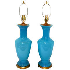 Large French Blue Opaline Glass Lamps
