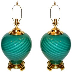Pair of Large Green Blown Glass Lamps