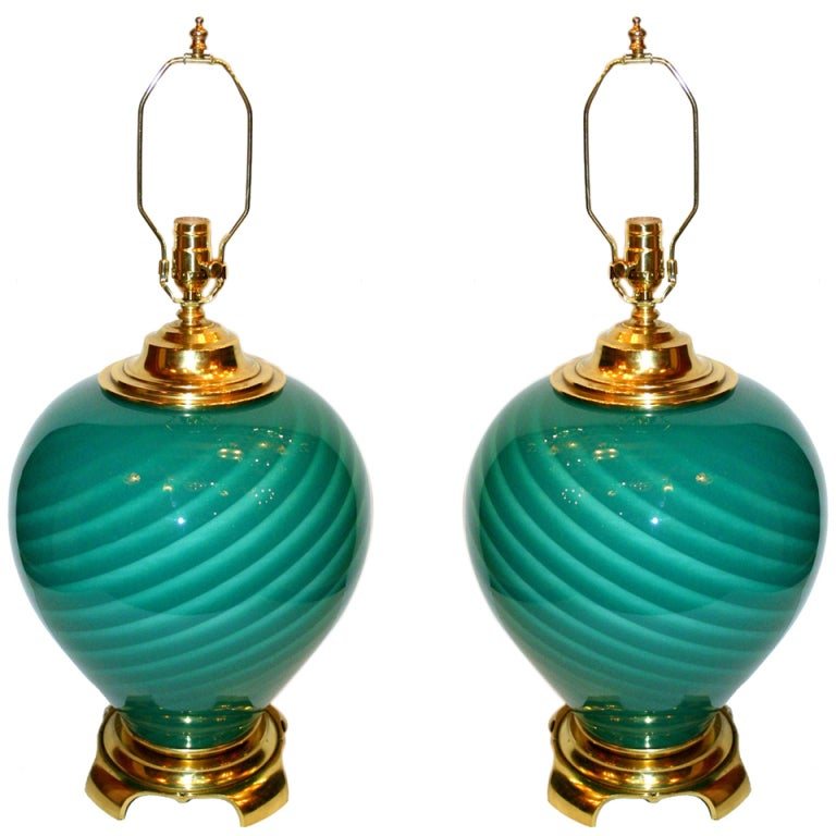 Pair of Large Green Blown Glass Lamps For Sale