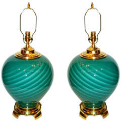 Pair of Large Moderne Green Glass Lamps