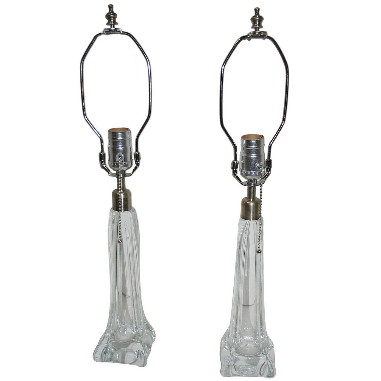 Pair of Clear Murano Glass Lamps