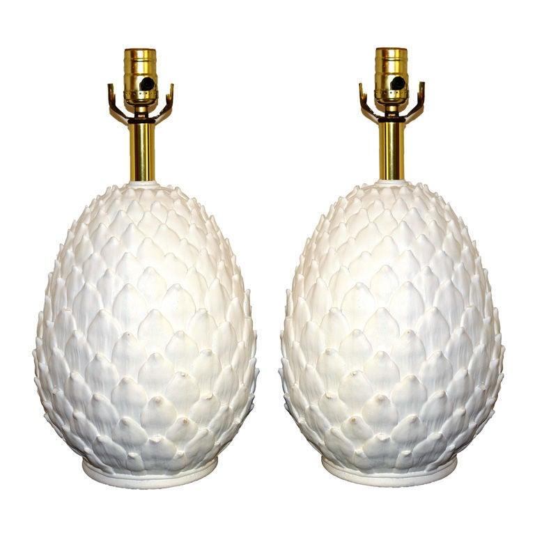 White Ceramic Pineapple Lamps