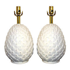 White Ceramic Pineapple Lamps
