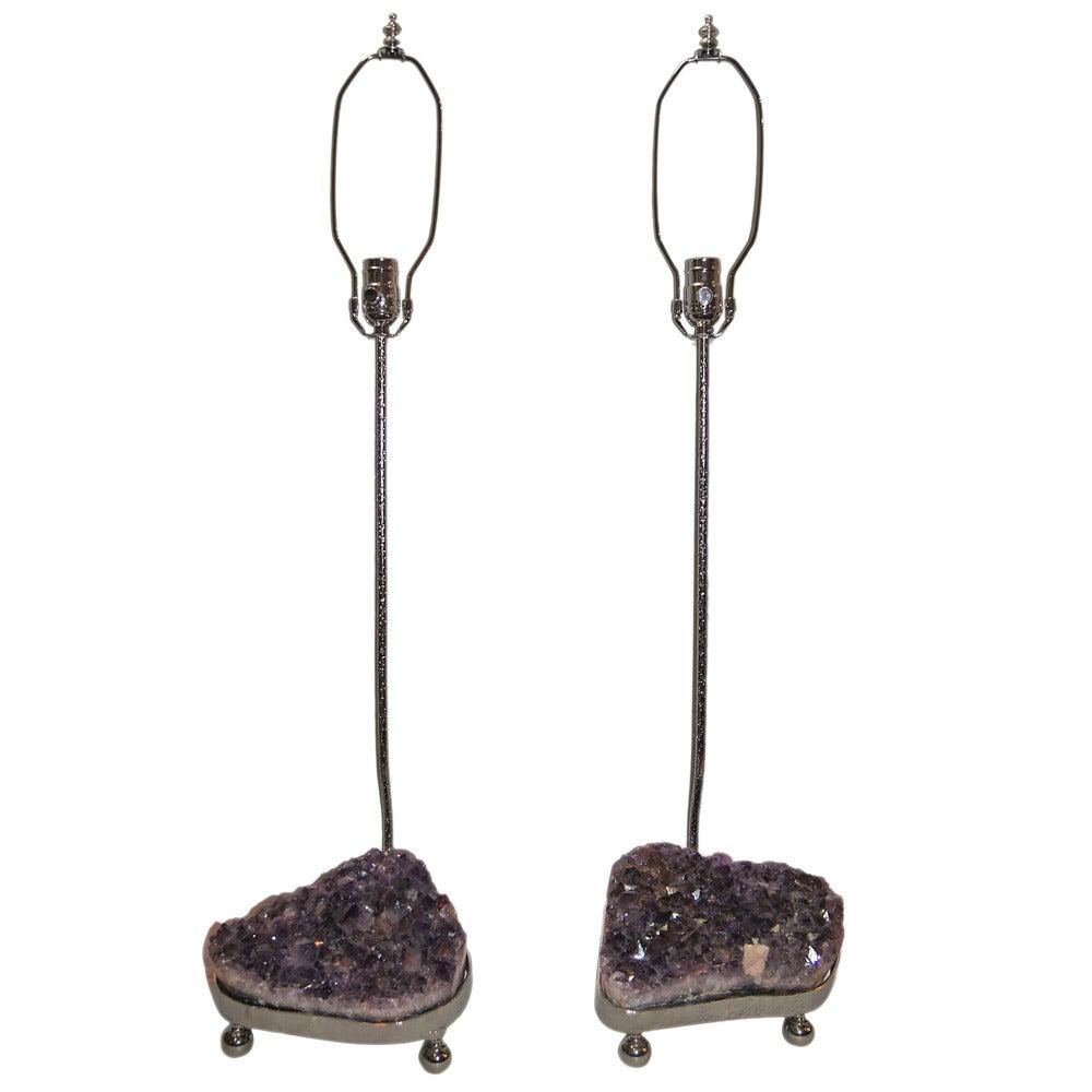 Pair of Amethyst Crystal Lamps