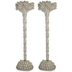 Pair of Vintage Carved Wood Palm Tree Floor Lamps
