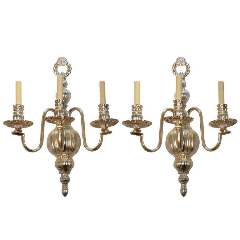 Large Silver Plated Neoclassic Sconces