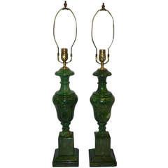 Pair of Green Alabaster Neoclassic Lamps