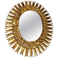 Large Oval Gilt Sunburst Mirror