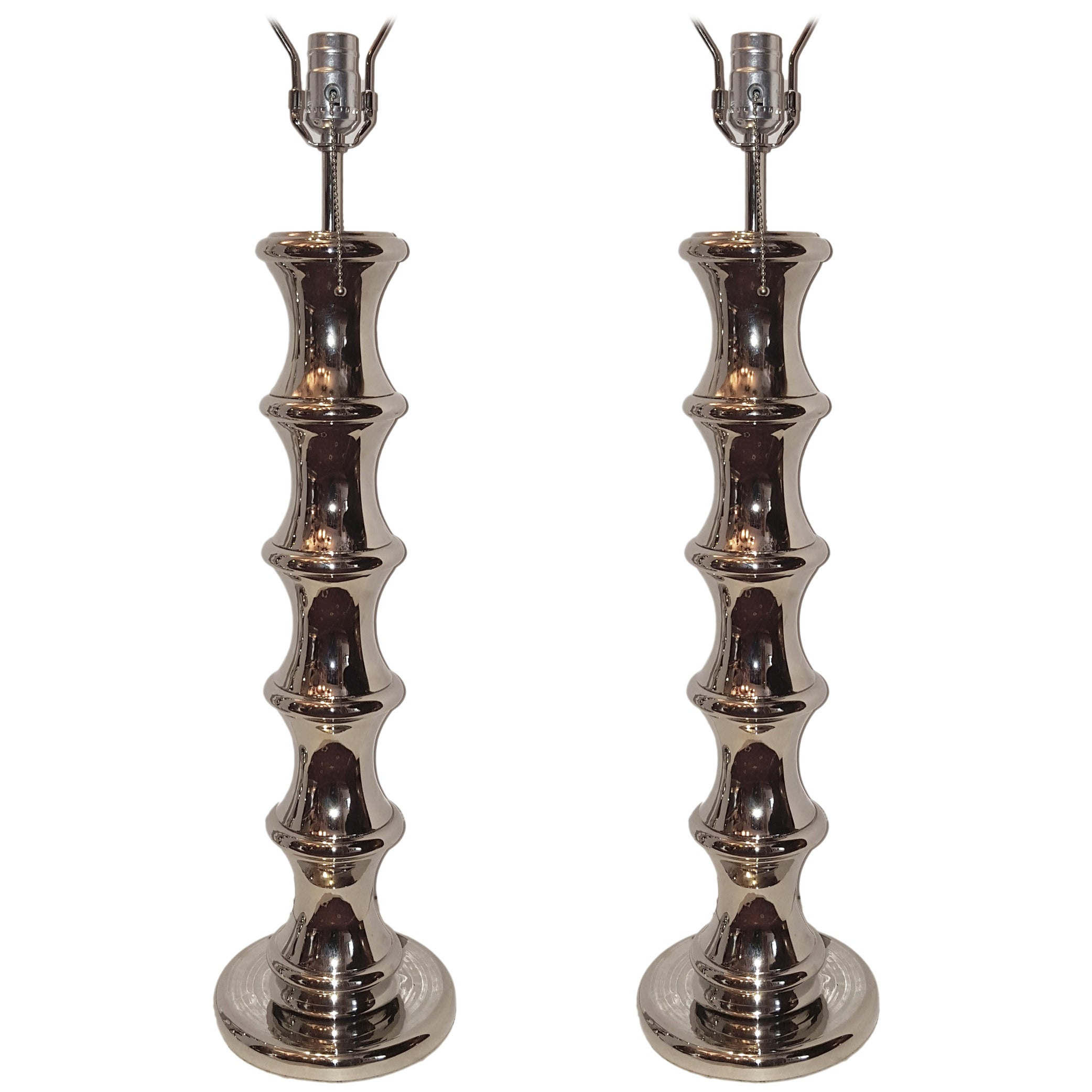 Pair of Nickel Plated Table Lamps