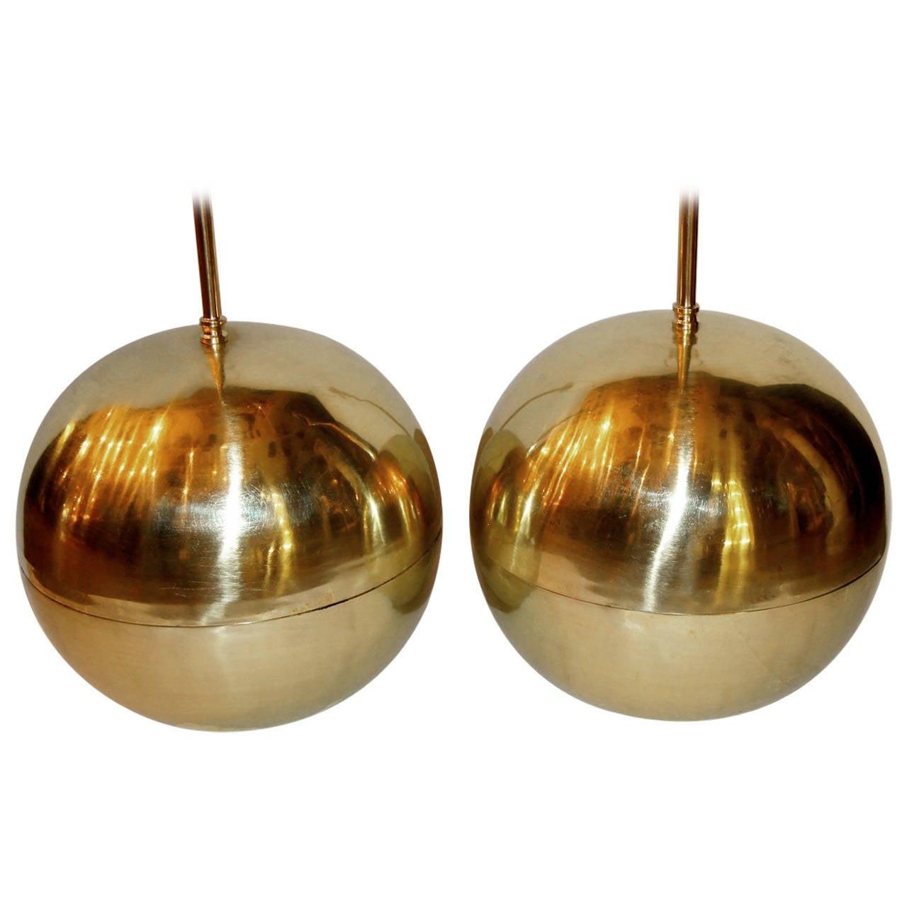 Pair of Large Midcentury Italian Brass Lamps