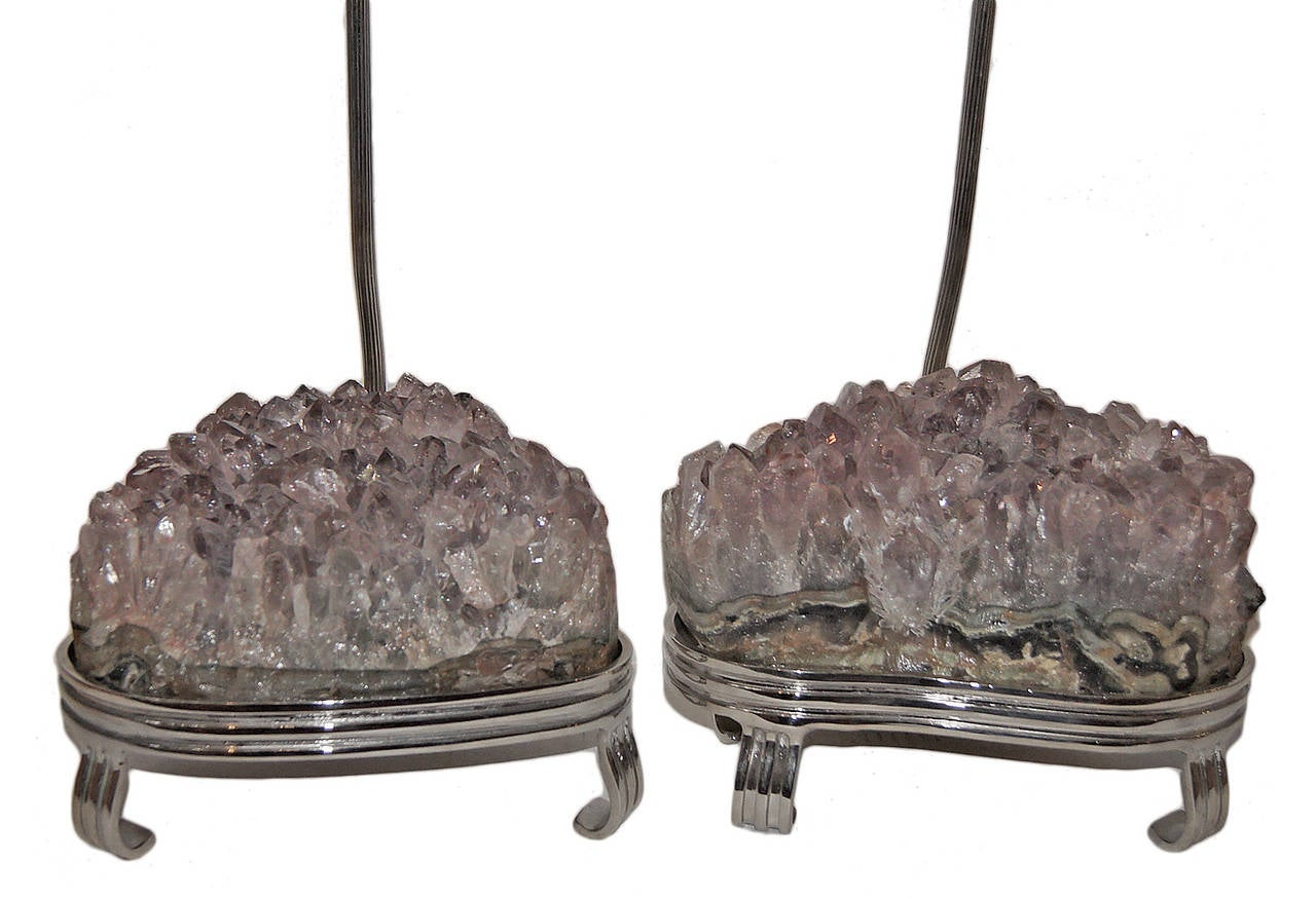 Italian Pair of Amethyst Stone Table Lamps For Sale