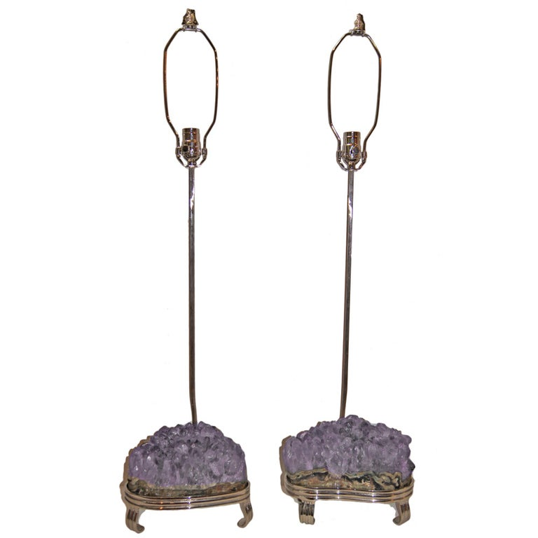 Pair of Amethyst Stone Table Lamps For Sale