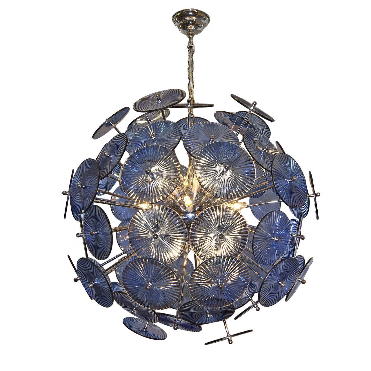 A circa 1960's Italian Blue glass and chrome sputnik chandelier, blue glass with etched details on glass.