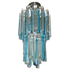 Turquoise and Clear Glass Venini Fixture