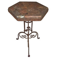 Marble-Top Iron Table