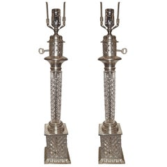 Pair of Cut-Glass Table Lamps
