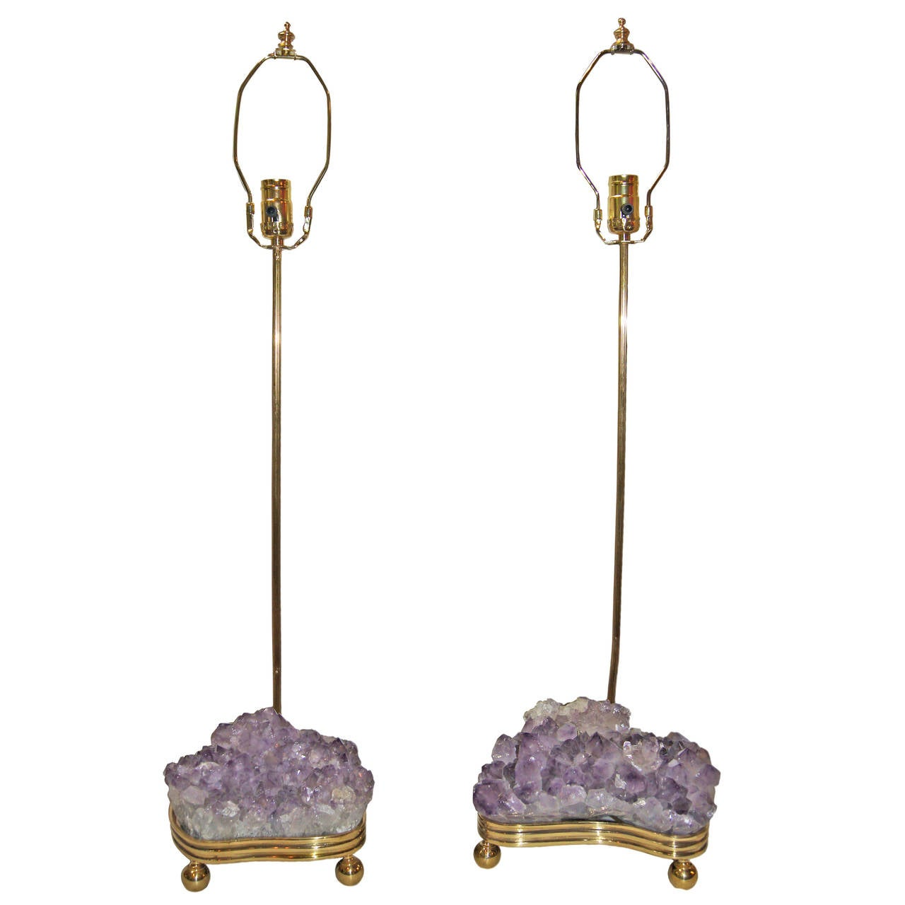 Pair Of Amethyst Table Lamps For Sale At 1stdibs