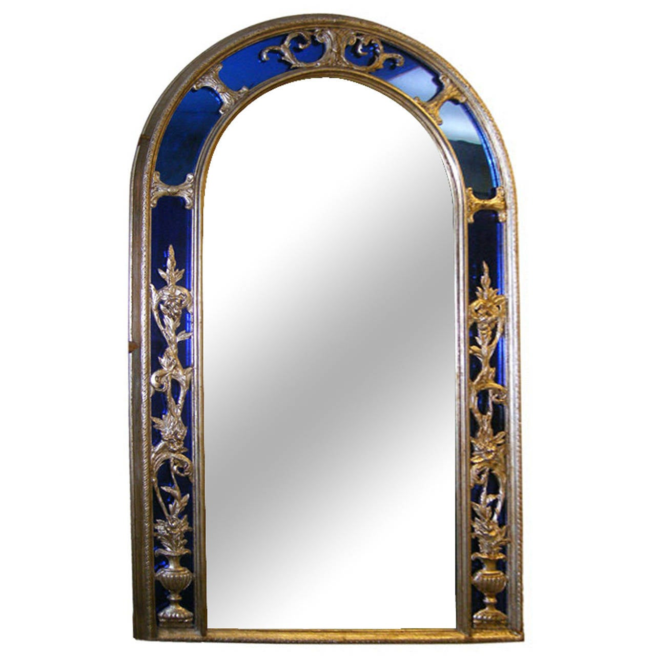 Silver Plated Mirror with Cobalt Blue Frame