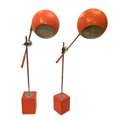Pair of Moderne Orange Lamps