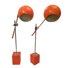 Pair of Moderne Orange Lamps
