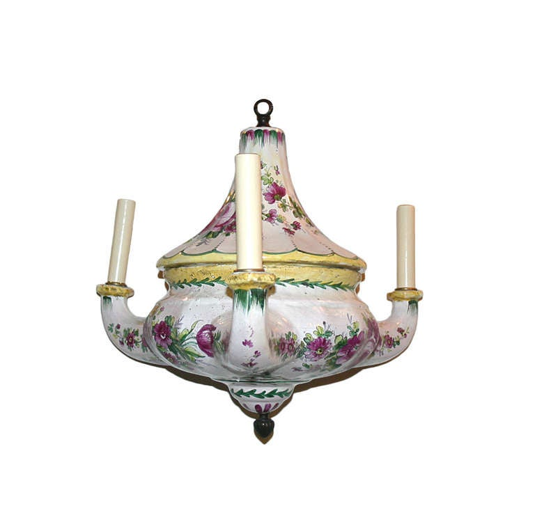 French Porcelain Floral Chandelier For Sale at 1stdibs